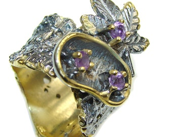 Amethyst Sterling Silver Ring - weight 11.80g - Size 7 - dim L -1, W -7 8, T -1 4 inch - code 25-sty-16-19
