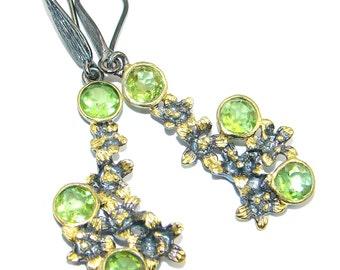 Peridot Sterling Silver Earrings - weight 9.00g - dim L- 2, W - 5 8, T- 3 16 inch - code 1-mar-17-36