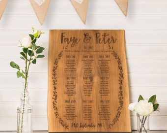 Rustic Wedding Table Plan | Oak Table Plan | Country Wedding | Grecian Wedding | Wooden Table Plan | Woodland Wedding | Seating Plan