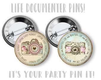 Set of Camera Pins 2.25 inch pinback button pin badge Photography pins Photographer Gift pinback buttons Camera Bag pins Photography Party