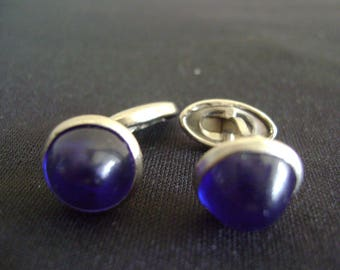 Vintage Men's Cufflinks Cobalt Blue Lucite