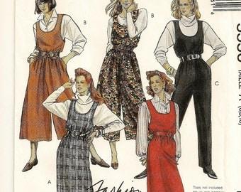 A Loose Fit, U-Neckline, Straight Skirt Jumper, Wide Leg Split Skirt Jumper & Jumpsuit Pattern for Women: Uncut-Sizes 6-8-10 • McCall's 5556