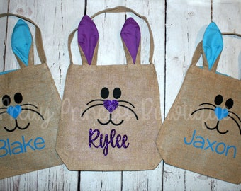 Personalized Burlap Bunny Bag, Burlap Easter Basket, Easter tote, Personalized Easter, Burlap Easter Bag, Burlap Bunny Bag