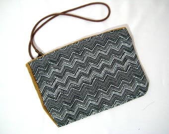 Gray Chevron Fabric Wristlet