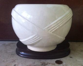 Zanesville Stoneware, Round vase, pottery vase, matte white, Art Deco, American Art Pottery, Prairie Style, Vintage Art Pottery, Ceramics
