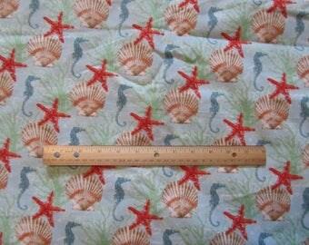 Blue Sea Horse/Star Fish/Shells Flannel Fabric by the Yard