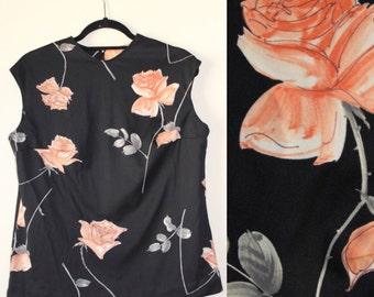 Watercolor Rose Blouse     Black Rose Top     Back Zipper     1960s/1970s     Size Medium