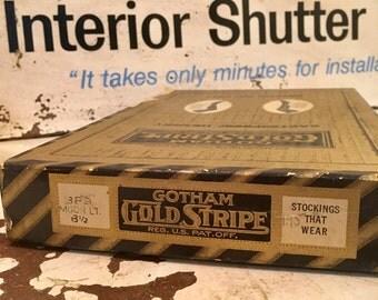 Gotham Gold Stripe Stockings Box- Vintage Hosiery Box- Display Piece-Free Shipping