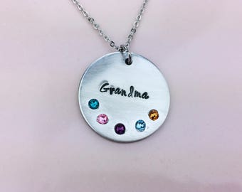 Grandmother necklace / Mother necklace / Birthstone jewelry / Hand stamped necklace