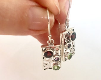Sterling silver gemstone modern square dangle earrings- Silver garnet, peridot and amethyst dangle earrings