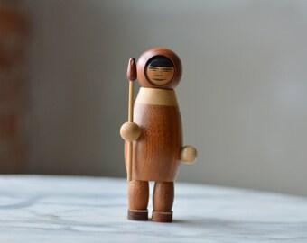 Rare Signed Arne Tjomsland Mid Century Scandinavian Teak Wood Eskimo with spear