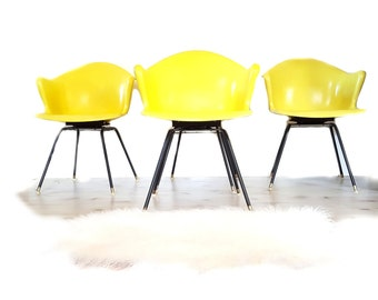 Mid Century Chairs ~  Set Of Four Yellow Swivel Fiberglass Shell Arm Chair By COLE STEEL ~ Eames Era Herman Miller