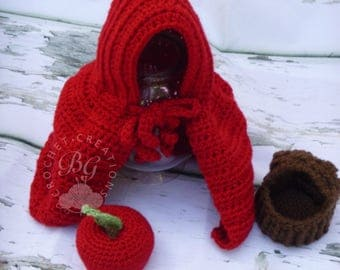 Little Red Riding Hood Cape - Crochet Red Riding Hood Baby Set - Costume For Newborn Baby Photography Prop