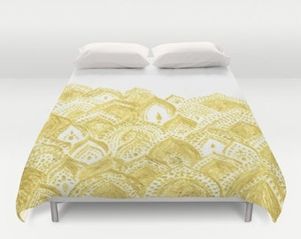 White Gold Duvet Cover, white gold cover, white gold duvet, white bedding, white bed cover, white duvet cover, bohemian duvet cover