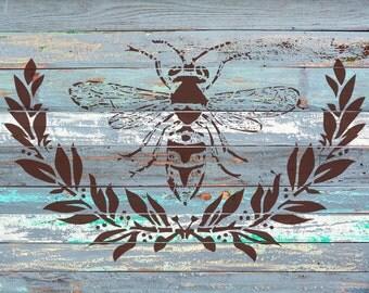 """Bee&Laurel (12.5"""" x 7.8"""") - A beautiful stencil"""
