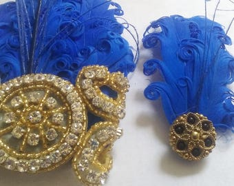 Royal blue wrist corsage, blue and gold prom corsage, corsage and boutonniere, corsages for prom, royal blue corsage, feather corsage, arm