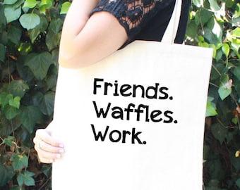 Parks & Rec Tote Bag - Friends. Waffles. Work. - Leslie Knope - Funny