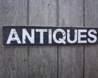 Wood Antiques Sign Rustic Reclaimed Wood Sign Pallet Sign Hand Painted Sign