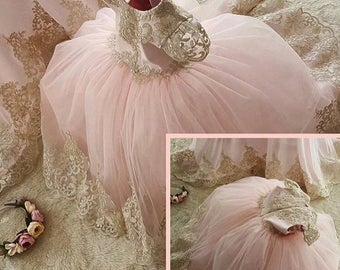 Custom pink and gold lace dress l flower girl dress l peagent dress
