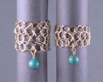 Size 4 Gold Turquoise Ring | Crocheted jewelry ring | Green gold rings |  Gold filigree ring | Gold wire ring