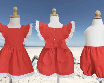 Toddler, Girl, Sundress, Vintage Style, Size 1, 2, 3, 4, 5, Pinafore and Bloomer Set