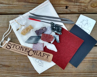 Stone Craft Kit, Stone Carving Hobby, Soapstone and Alabaster Stones, Patterns, and Tools in Canvas Bag, Children's hobby kit