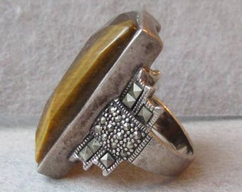 Massive Vintage Sterling Silver & Marcasite Tiger Eye Ring, Size 8.5