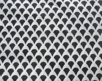 Black and White Scallop Fabric Soft Cotton Fabric Sold by Yard