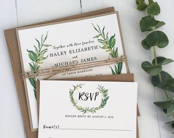 Watercolor Greenery Wedding Invitation. Modern Wedding Invitation, rustic wedding invitation, botanical invitation, laurel wedding invite