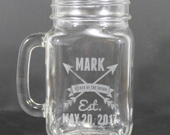Groomsman/Mason Jar Mugs/Custom/Name/Date/Best Man/Engraved/Wedding Party/Glasses/Wedding Glass/Wedding Decor/Shower Gift