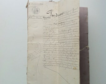 Stunning antique French parchment manuscript document dating from 1854