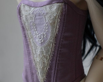 Violet dupioni silk corset for BJD SD Girl