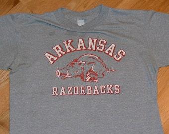 1980's ARKANSAS RaZORBACKS vintage soft thin college university original t-shirt Large (M/L) 80's 50/50 Rayon Tri-Blend mens tee tshirt