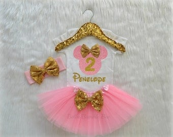 Baby Girl Disney Minnie Mouse, Light Pink and Gold with Custom Name, Second Birthday Tutu Headband Set, Short Sleeve Bodysuit Tshirt 259