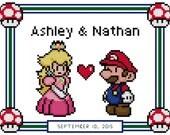 Custom Reserved Mario & Peach Anniversary Cross Stitch Pattern - Couples - (PDF)