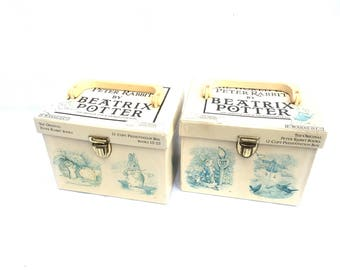 Beatrix Potter children storybooks hardcover box sets white jackets vintage stories Peter Rabbit Tittlemouse Tiggy-winkle collectible