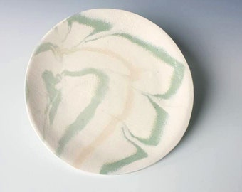 Cocktail Plate, Peach and Recycled Green, Handmade Ceramic Plate