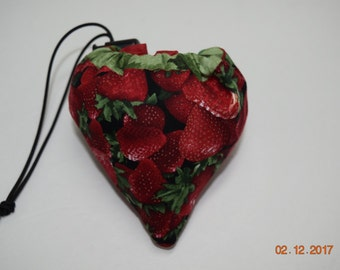 Shopping Bag, Market Bag, Reusable, Collapsable, Foldable, Strawberry