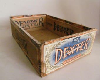Vintage Cigar Box Cigar Boxes Dexter Wooden Cigar Box Manchester NH Cigar Labels Cigar Box with Latch Tobacciana Antique Cigar Box Rare