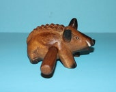 Vintage Wooden Hand Carved  Guiro Percussion Instrument. (Pig/Wild Boar/Water hog)