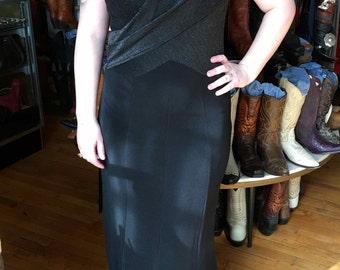 Vintage Black Slinky Dress, Stretchy, Sleeveless