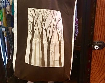 Large Vintage Marushka Bag, Canvas Bag, Tree Art, Linen and Brown