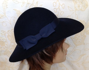Designer fedora hat by Lancaster navy blue wool felt with grosgrain band and bow made in USA retro chic hipster women's  fashion accessory