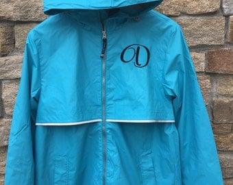 Aqua Monogrammed Rain Jacket, Personalized Rain Coat, Embroidered Rain Coat,
