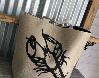 Tote/BeachTote/Large BLACK Lobster Tote with Monogram