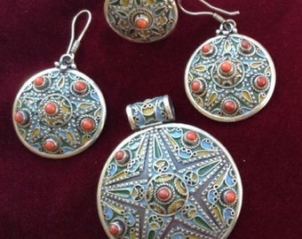 SILVER Enamel Coral Moroccan Berber Colored STAR Parure- Pendant, Earrings & Ring- Jewelry Set