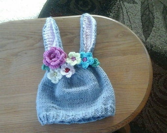 Easter bunny hat, custom made, unisex bunny hat, bunny hat with flowers, bunny hat plain for boy, bunny hats for children, Easter bunny cap