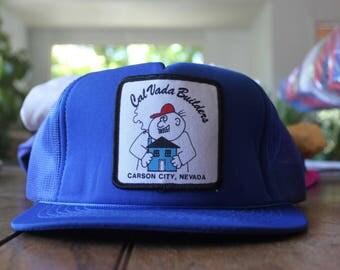 Vintage Builders Carson City Nevada Blue 1980s Trucker Hat