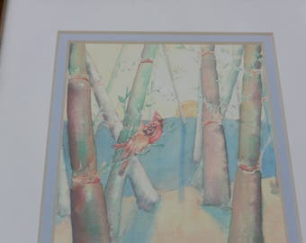 2 Cardinals Watercolor Framed - Signed, Lisa Bunge, Male/Female, Woods - Vintage - Stunning!