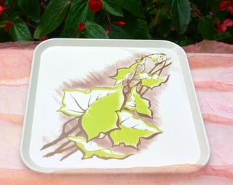 SALE! Snack Tray - Lunch/Picnic, Laminated, Leaf Pattern - Vintage - Fabulous!